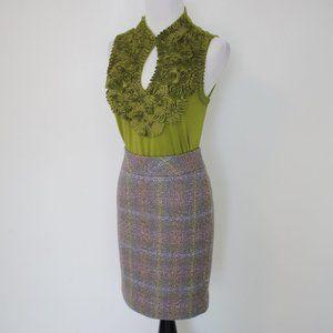 J. CREW Size 0 Skirt & Blouse Set Gray Green
